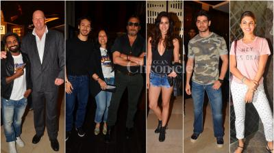 On Wednesday, Bollywood celebrities came down to watch Tiger Shroff and Jacqueline Fernandez starrer 'A Flying Jatt' in Mumbai. (Photo: Viral Bhayani)