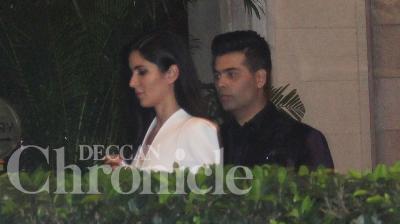 Katrina Kaif and her director friend Karan Johar partied together on Wednesday night at the Taj hotel in Mumbai. Photo: Viral Bhayani