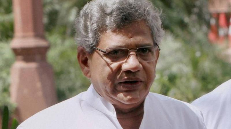 Sitaram Yechury met Congress chief Sonia on Thursday at her official residence in New Delhi; their meeting followed a discussion between Gandhi and Bihar Chief Minister and JD(U) president Nitish Kumar on the isuue on Thursday. (Photo: PTI)
