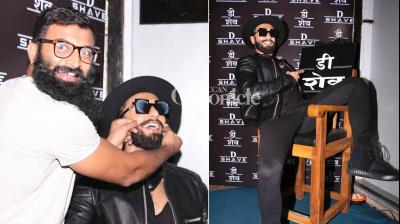 Ranveer Singh was in his elements as he launched his hairstylist's salon in Mumbai on Tuesday. (Photo: Viral Bhayani)
