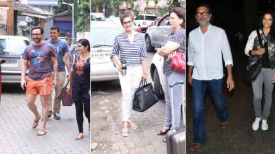 Saif Ali Khan and Raveena Tandon were snapped in Bandra while 'Mirzya' team, Dia Mirza, Evelyn Sharma and Sonu Sood were snapped at the airport. (Photo: Viral Bhayani)