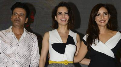 Actress Kangana Ranaut came out to support director Shirish Kunder and his lead actors Manoj Bajpayee and Neha Sharmaas, as they launched their short film 'Kriti' on Wednesday. Photo: Viral Bhayani