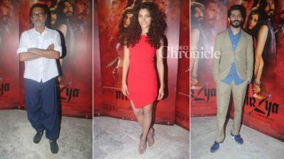Harshvardhan Kapoor, Saiyami Kher, and Rakeysh Omprakash Mehra attended media interviews for their film 'Mirzya' on Wednesday. (Photo: Viral Bhayani)