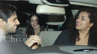 Post the special screening of their upcoming film 'Fitoor', lead actors Katrina Kaif and Aditya Roy Kapur were seen driving off with good friends Sidharth Malhotra and Aarti Shetty for a private after-party on Thursday night. Photo: Viral Bhayani