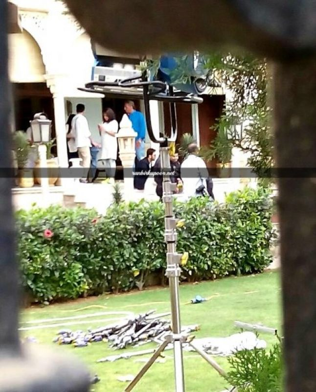 In between shots, Ranbir Kapoor and Karan Johar were snapped in a deep discussion on the set.