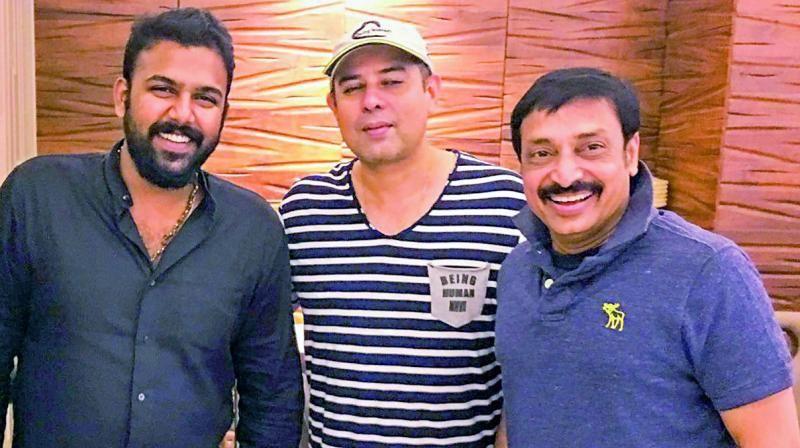 Tharun Bhascker with Atul Agnihotri and Raj Kandukuri in Mumbai on Thursday.