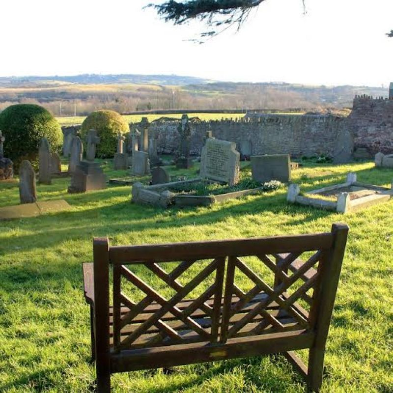 Dyer church courtyard: All Saint's churchyard in Long Ashton near Bristol looking out towards the Somerset countryside. This view hasn't changed much since Dyer's days.