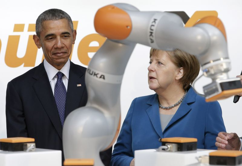 3c104720e2c8 US President Barack Obama and German Chancellor Angela Merkel