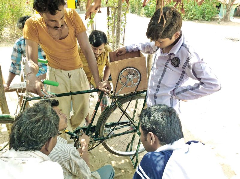 Innovative bicycle designed by the team