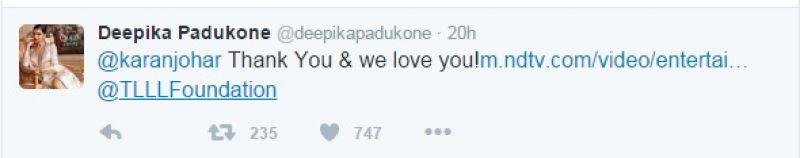 Deepika Padukone Karan Johar tweet