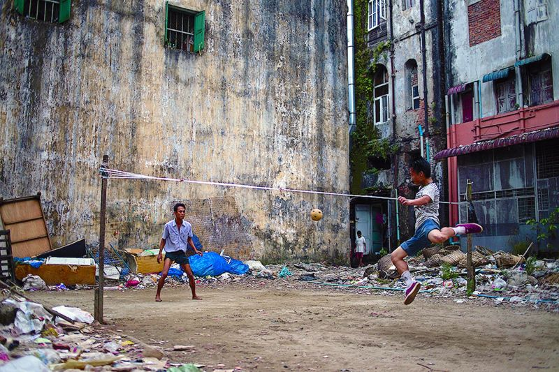 Kids playing around in Yangon, Myanmar