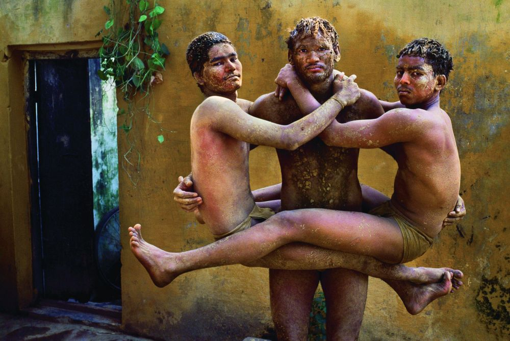 Wrestlers train at an akhada, Varanasi, Uttar Pradesh, 1996