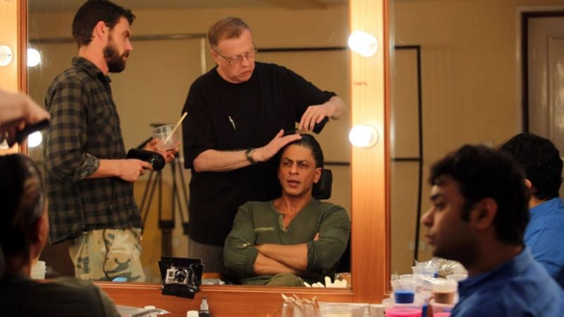 Three time Oscar winning makeup artist Greg Cannom, worked with Maneesh, SRK and Aditya Chopra to come up with the final look of the character Gaurav.
