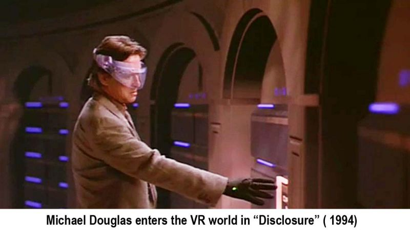 Michael Douglas entering the VR system in the movie 'Disclosure