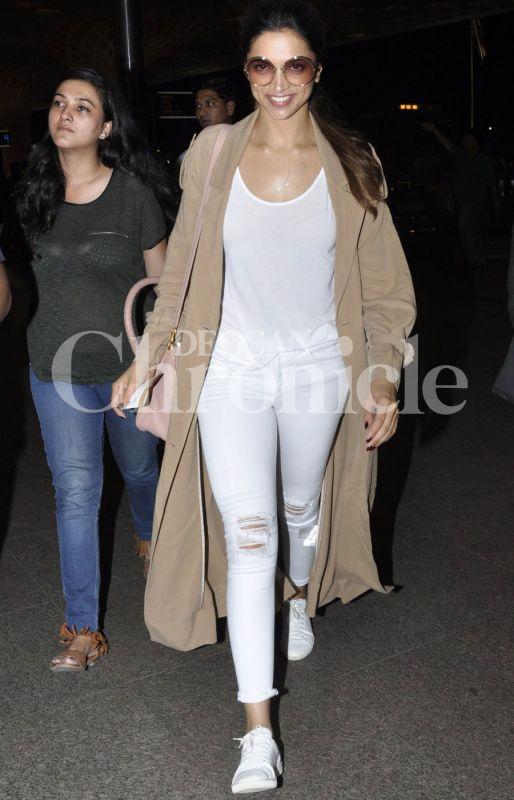 Deepika Padukone spotted at the Mumbai airport on Monday night.