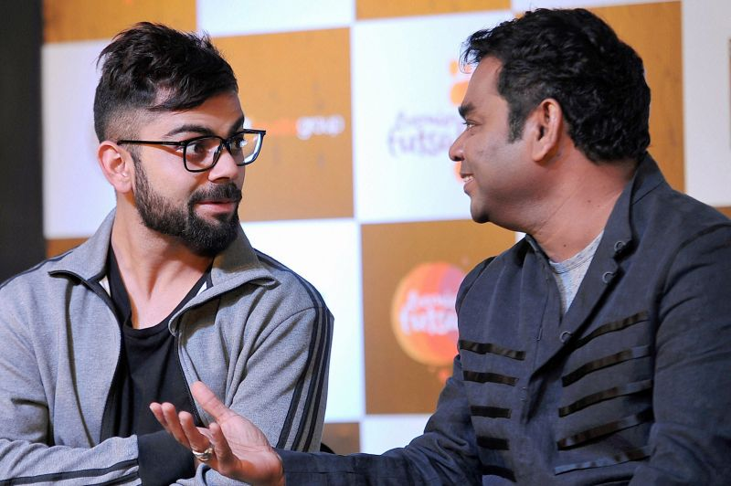 Virat Kohli and AR Rahman have a small chat during the event. (Photo: PTI)