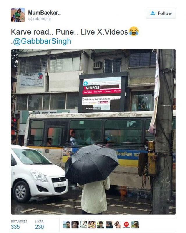 Pune: Porn clip plays on digital billboard, causes traffic jam - 웹