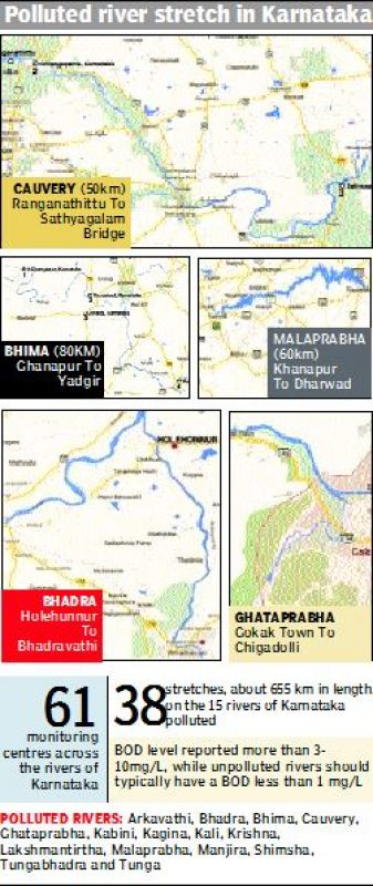 Polluted river stretch in Karnataka