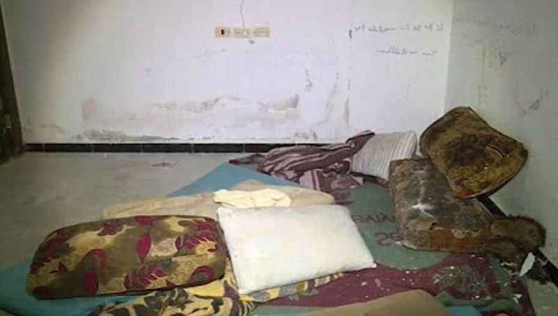 The stained pillows and dirty bed sheets used by ISIS sex slaves.