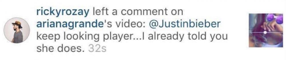 Thsi is what Ariana's boyfriend replied to Justin's comment on the video.