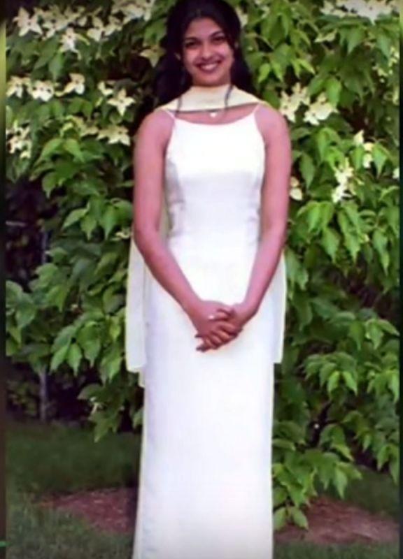 A flashback photo of Priyanka Chopra in a white gown, all set for prom.