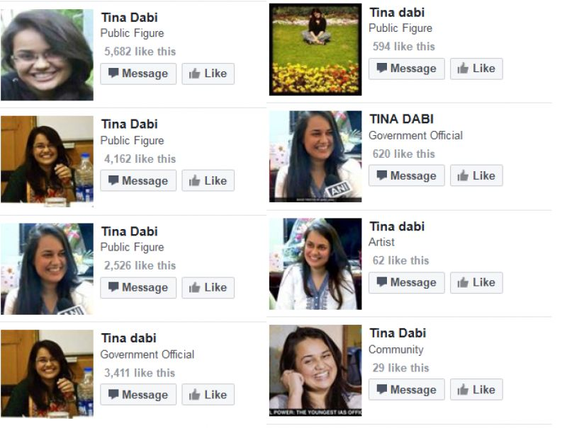 Facebook pages dedicated to Tina Dabi.