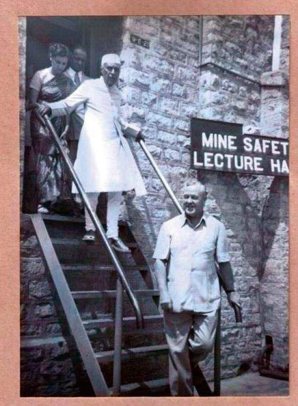 Late Prime Ministers Jawaharlal Nehru and Indira Gandhi during a visit to the gold mines at KGF