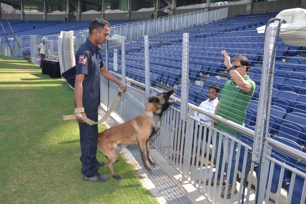 Kishor Nawal, who is employed with the Maharashtra police, claimed MCA stadium is the only cricket-venue in the world where the service of dog security service is used. (Photo: DC)
