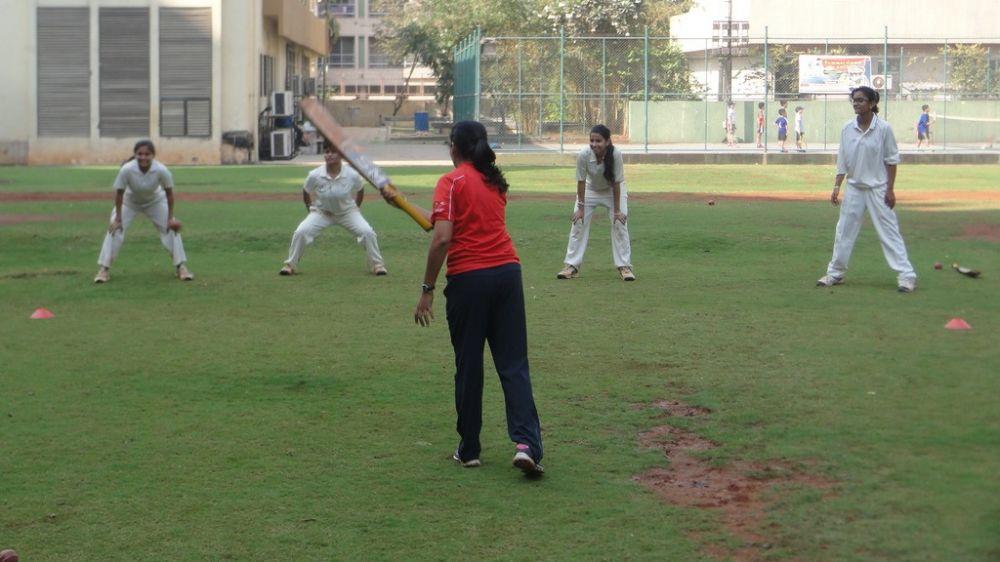 Coach Bhavana Patil with aspiring cricketers at Indian Gymkhana in Mumbai.