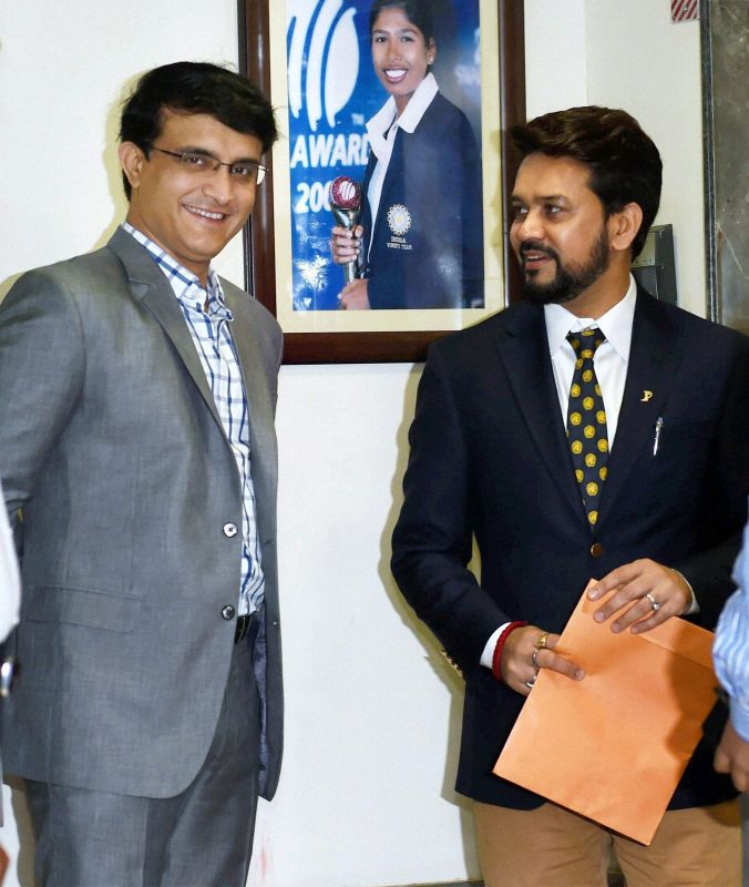 CAB president Sourav Ganguly with the newly-elected BCCI president Anurag Thakur. (Photo: PTI)