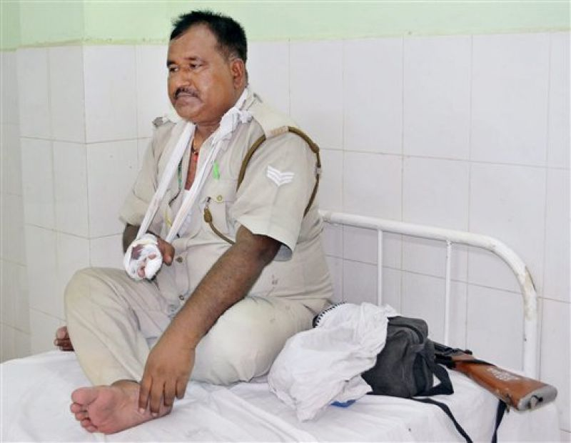 A policeman being treated in the District Hospital after he got injury during clashes in Mathura. (Photo: PTI)