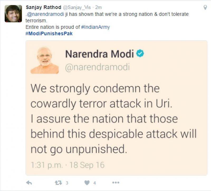 Surgical strikes: Twitteratti hail Army, #ModiPunishesPak trends top