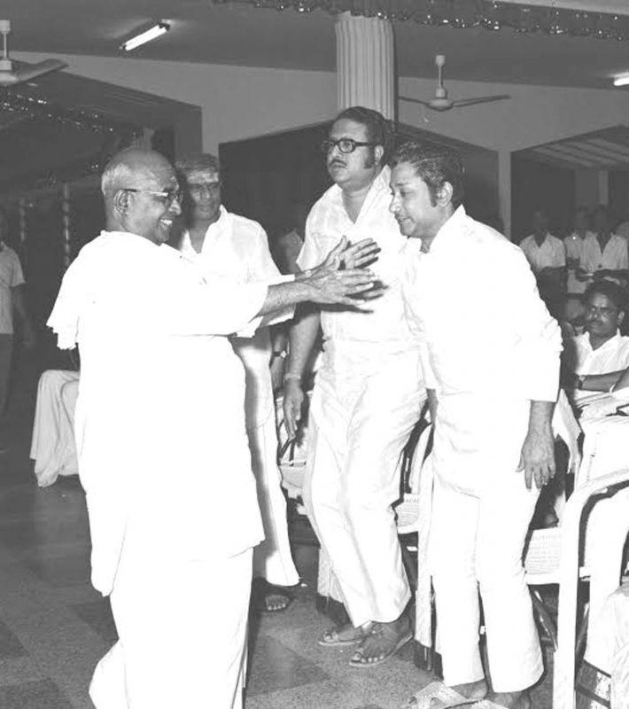 A.C. Tirulokchandar with A.V. Meiyappan and Sivaji Ganesan.