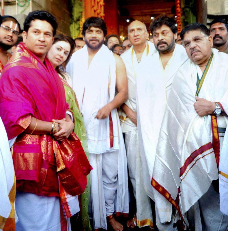 Sachin Tendulkar and his wife Anjali were accompanied by actors K Chiranjeevi and actor Akkineni Nagarjuna. (Photo: PTI)