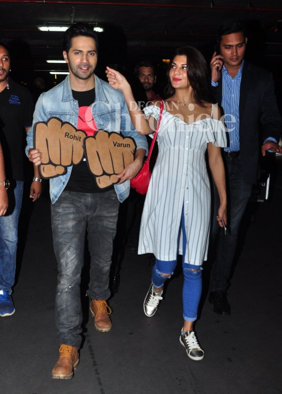 Jacqueline couldn't help but go for Varun's cheeks