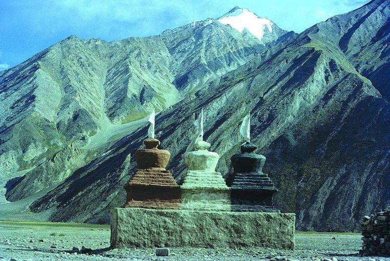 Stupas in snow desert