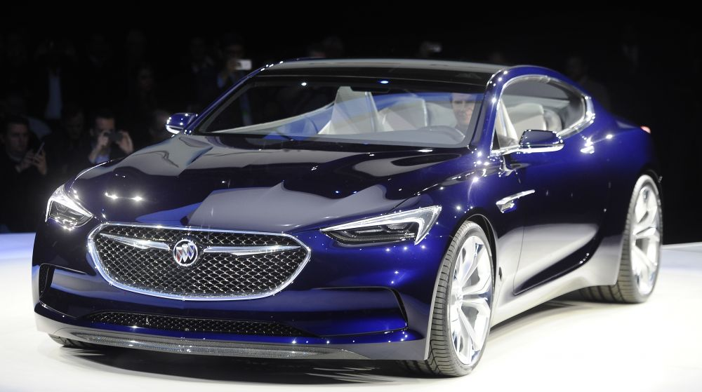 Buick's concept car, the Avista, has a mean-looking front grille, thin LED headlamps, 20-inch wheels and aggressive flared rear fenders.