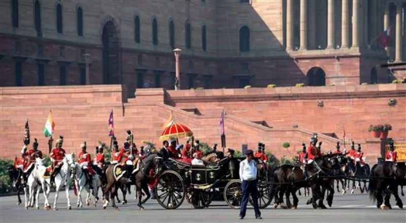 President Pranab Mukherjee arrives in a buggy to address the joint session of Parliament on the first day of budget session 2016 (Photo: PTI)