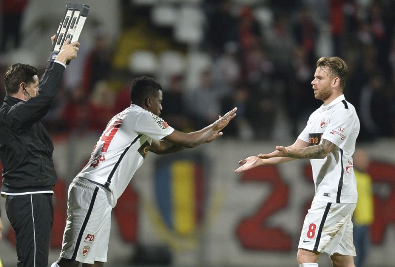 The 26-year-old midfielder fell to the ground without any contact with another player in the 70th minute of the game against Viitorul, just seven minutes after coming on as a substitute. (Photo: AP)