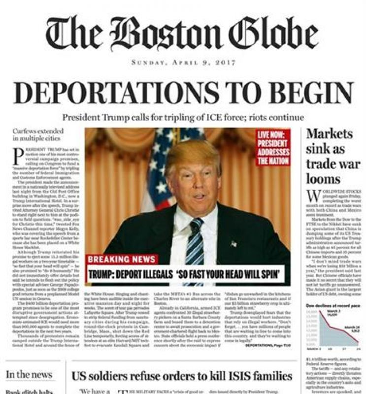 This image shows a portion of a satirical front page of The Boston Globe published on the newspaper's website on Saturday, April 9, 2016. The editorial board of The Boston Globe used the parody to express its uneasiness with a potential Donald Trump presidency. (Photo: AP)