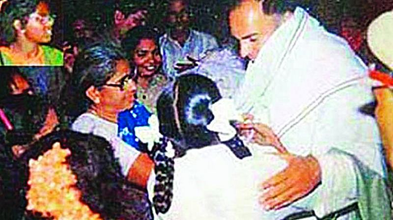 Rajiv Gandhi seconds before he was assassinated by Dhanu (inset) 25 years ago.