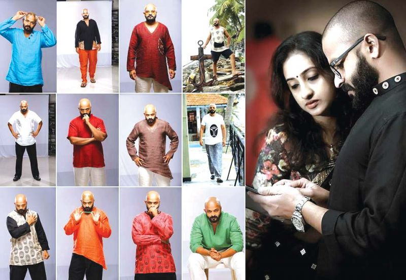 Jayasurya in the different costumes designed by his wife for Pretham.