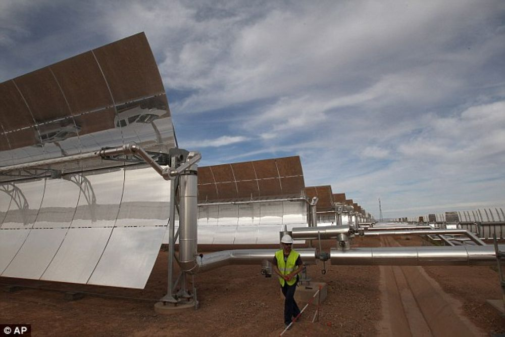 CSP, the technology to be used in Ouarzazate's $9billion plant (pictured), is more expensive than the other main sun-based energy production method - photovoltaic cells. But it has the benefit of being able to produce energy for much longer, up to eight hours in extreme cases. (Photo: AP)