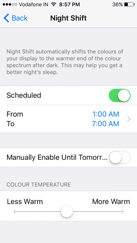 The new Night Shift feature.