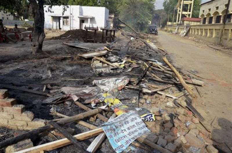Gutted huts near Jawahar Bagh in Mathura on Friday, a day after violent clashes between encroachers and the police. (Photo: PTI)