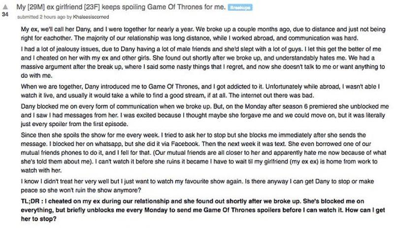 Woman gets sweet revenge by sending Game of Thrones spoilers