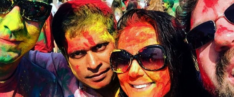 A few close friends and family members joined the couple celebrate Holi at the beach.