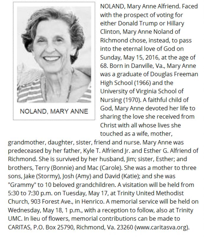 The obituary which appeared in the Richmond Times-Dispatch.