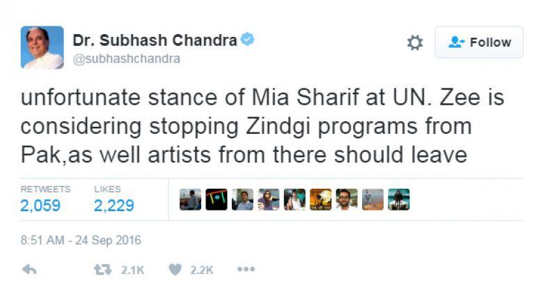 Subhash Chandra tweet