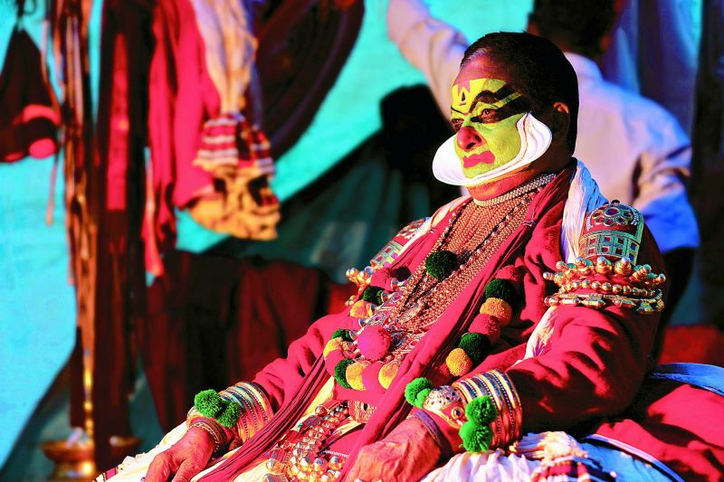 Kathakali maestro Kalamandalam Gopi in a thoughtful mood, as he gets ready for the night's performance